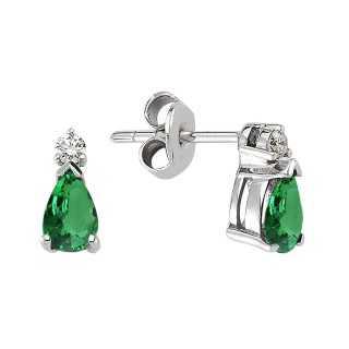 Emerald & Diamond Stud Earring