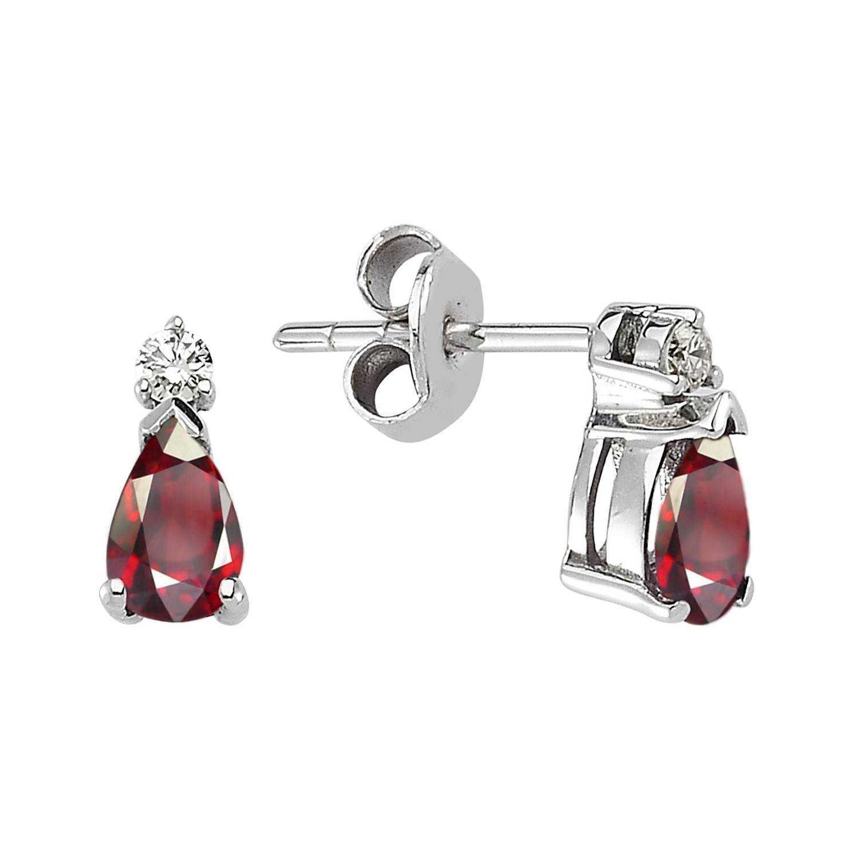 Ruby & Diamond Stud Earring