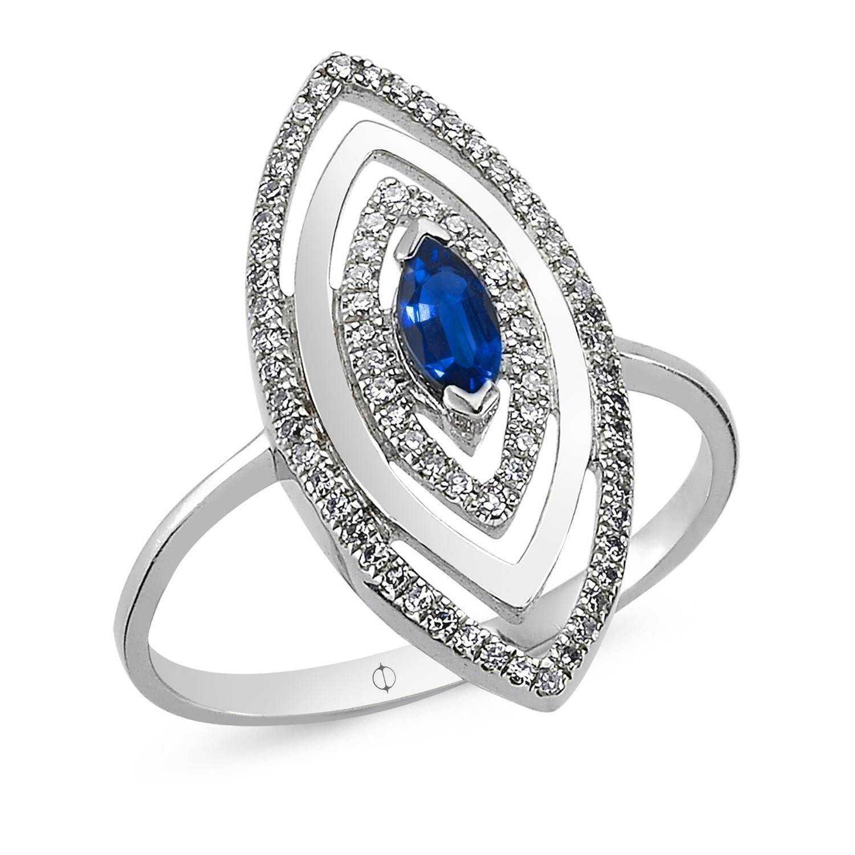 0.37 ct Saphir & Diamant Ring