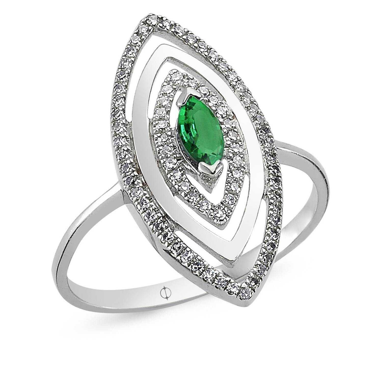 0.37 ct Smaragd & Diamant Ring