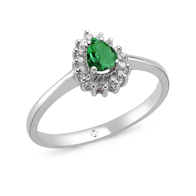 0.55 ct Smaragd & Diamant Ring