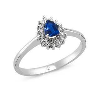0.55 ct Saphir & Diamant Ring