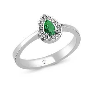 0.29 ct Smaragd & Diamant Ring