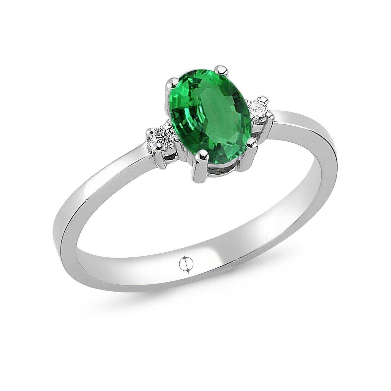 0.68 ct Smaragd & Diamant Ring