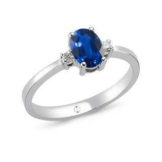 0.68 ct Saphir & Diamant Ring
