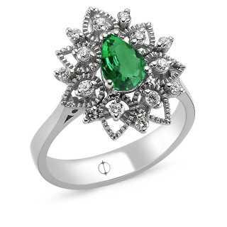 0.97 ct Smaragd & Diamant Ring