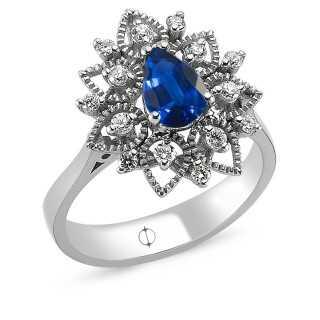 0.97 ct Saphir & Diamant Ring