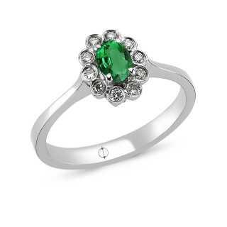 0.48 ct Smaragd & Diamant Ring