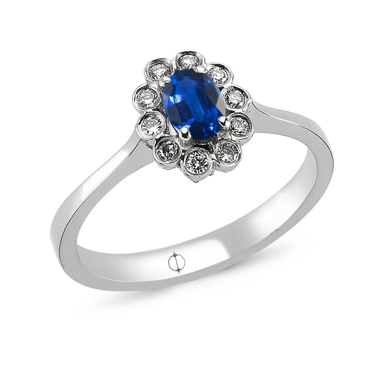 0.48 ct Saphir & Diamant Ring
