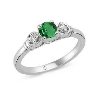 0.53 ct Emerald & Diamond Ring