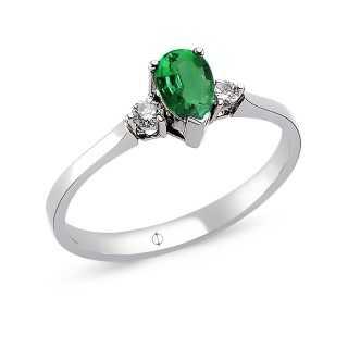 0.63 ct Smaragd & Diamant Ring