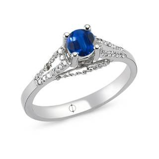 0.71 ct Saphir & Diamant Ring