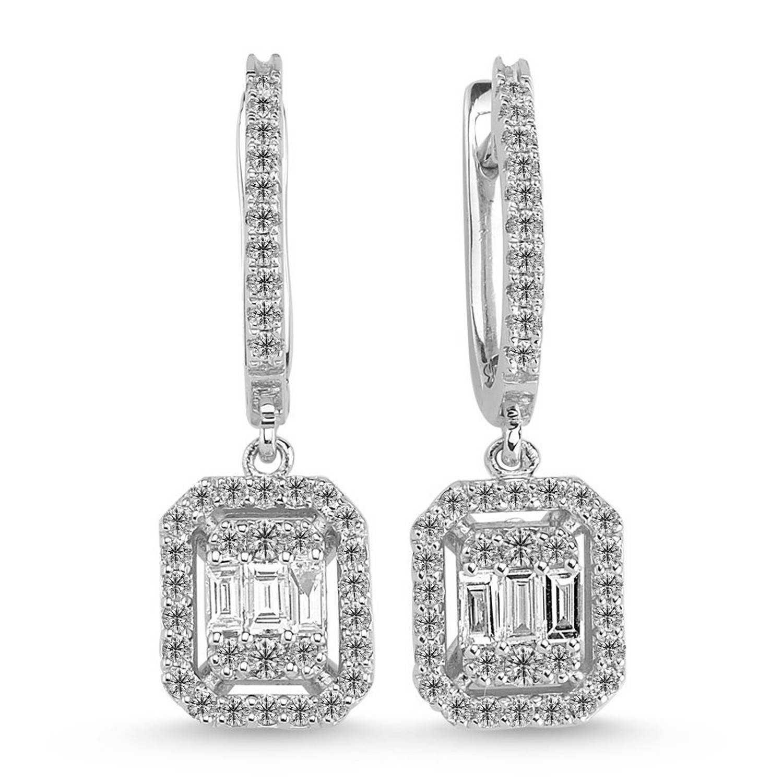 0.95 ct Baguette Diamant Ohrring