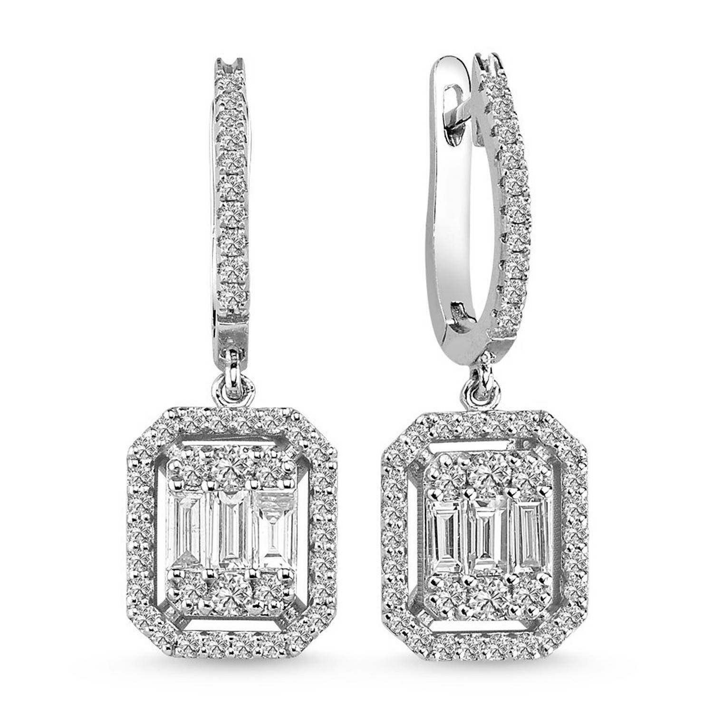 1.28 ct Baguette Diamant Ohrring