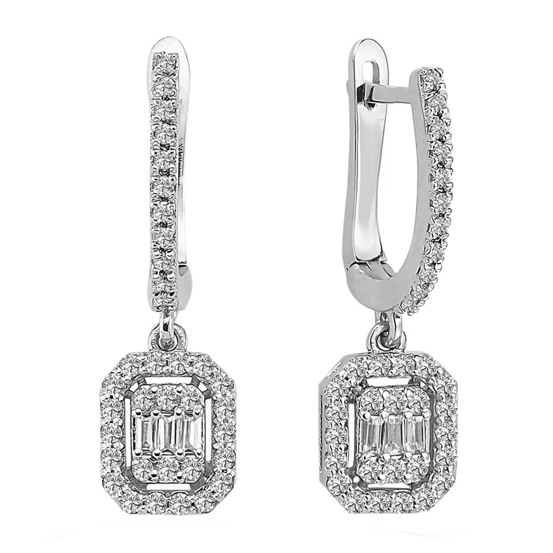 0.55 ct Baguette Diamant Ohrring