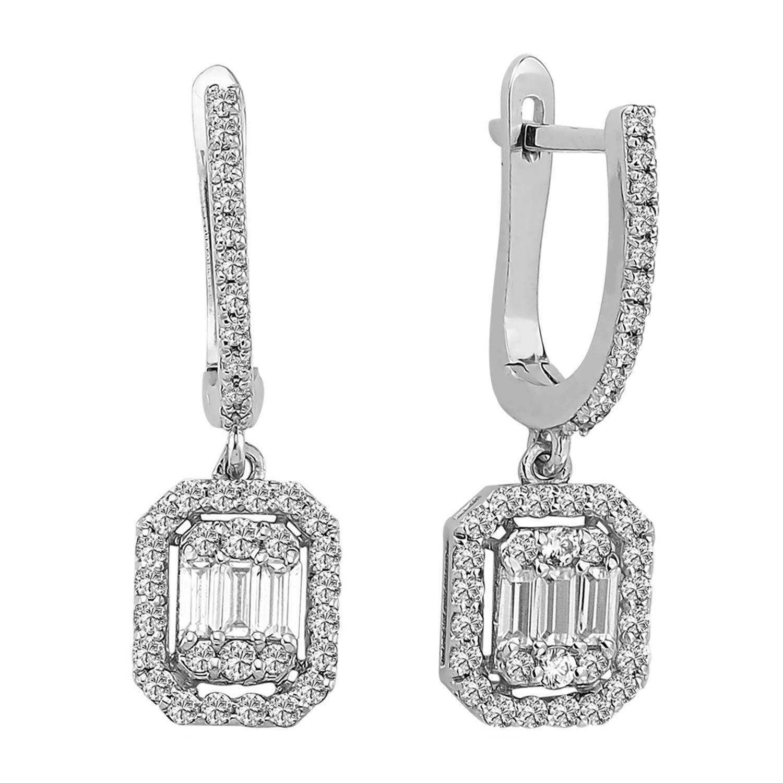 0.84 ct Baguette Diamant Ohrring
