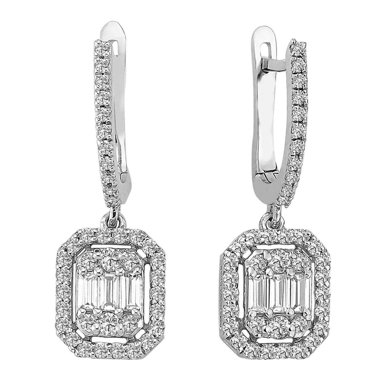 0.93 ct Baguette Diamant Ohrring